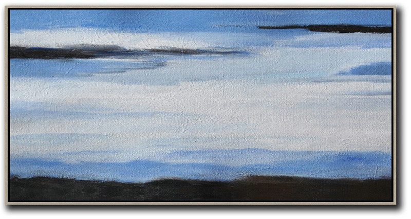 Extra Large Acrylic Painting On Canvas,Hand Painted Panoramic Abstract Painting,Original Abstract Painting Canvas Art,White,Blue,Black.etc