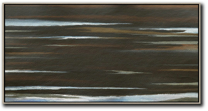 Extra Large Canvas Art,Hand Painted Panoramic Abstract Painting,Acrylic Painting Wall Art,Black,Brown,White.etc