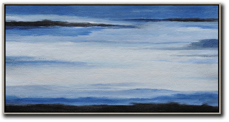 Extra Large Abstract Painting On Canvas,Hand Painted Panoramic Abstract Painting,Hand Made Original Art,Blue,White,Black.etc