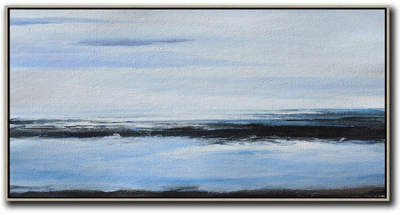 Large Abstract Painting,Panoramic Abstract Landscape Painting On Canvas,Original Art Acrylic Painting,Grey,Blue,Black.etc