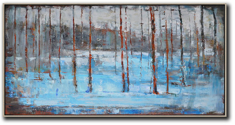 Handmade Large Contemporary Art,Panoramic Abstract Landscape Painting,Big Canvas Painting,Grey,Light Blue,Red.etc