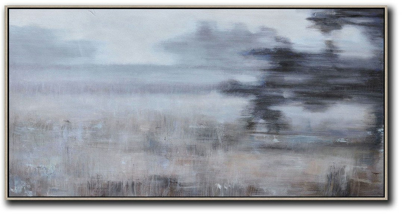 Huge Abstract Painting On Canvas,Panoramic Abstract Landscape Painting,Modern Paintings On Canvas,Grey,Black,Brown.etc
