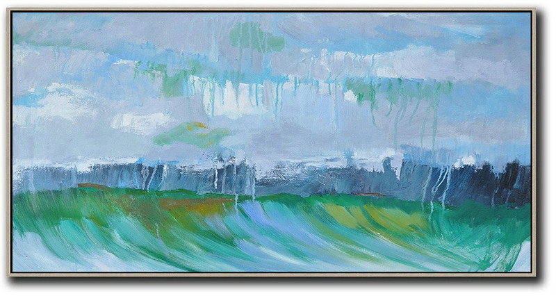 Extra Large Acrylic Painting On Canvas,Panoramic Abstract Landscape Painting,Large Wall Canvas,Grey,Dark Blue,Green.etc