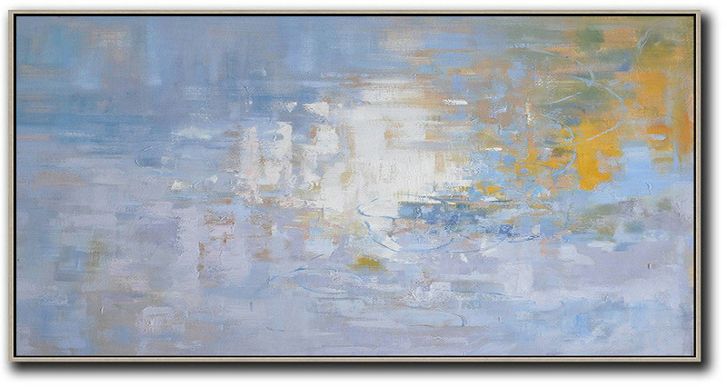 Extra Large Acrylic Painting On Canvas,Panoramic Abstract Landscape Painting,Contemporary Art Canvas Painting,Light Blue,Yellow,White.etc