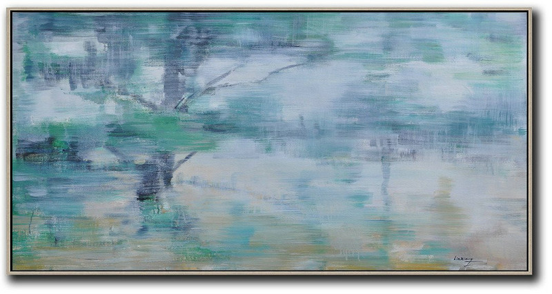 Hand Painted Extra Large Abstract Painting,Panoramic Abstract Landscape Painting,Large Wall Art Canvas,Blue Grey,Green,White,Yellow.etc
