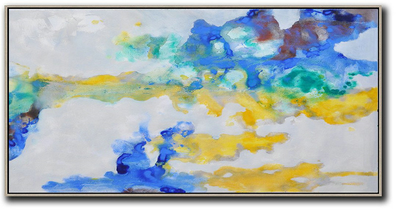 Original Extra Large Wall Art,Panoramic Abstract Oil Painting On Canvas,Large Canvas Art,Grey,Yellow,Blue.etc