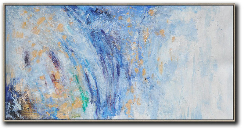Handmade Large Contemporary Art,Panoramic Abstract Oil Painting On Canvas,Hand Painted Acrylic Painting,Blue,White,Yellow.etc