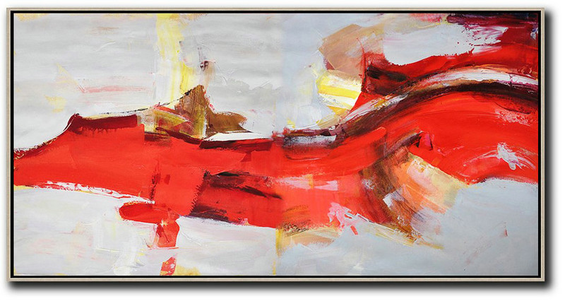 Extra Large Canvas Art,Horizontal Palette Knife Contemporary Art Panoramic Canvas Painting,Canvas Artwork For Sale,Red,Grey,Yellow.etc