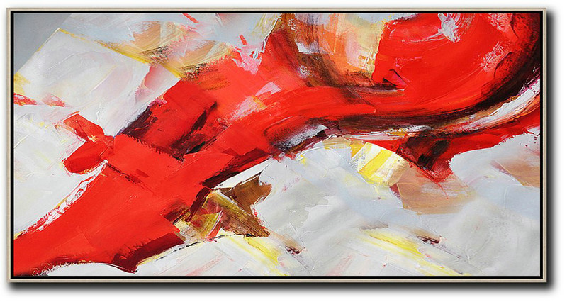 Extra Large Abstract Painting On Canvas,Horizontal Palette Knife Contemporary Art Panoramic Canvas Painting,Size Extra Large Abstract Art,Red,White,Yellow.etc