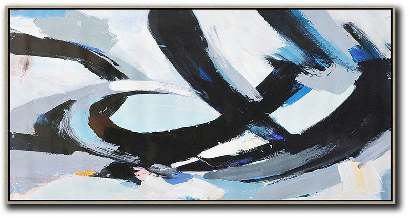 Large Abstract Art,Horizontal Palette Knife Contemporary Art Panoramic Canvas Painting,Huge Abstract Canvas Art,Black,White,Grey,Blue.etc