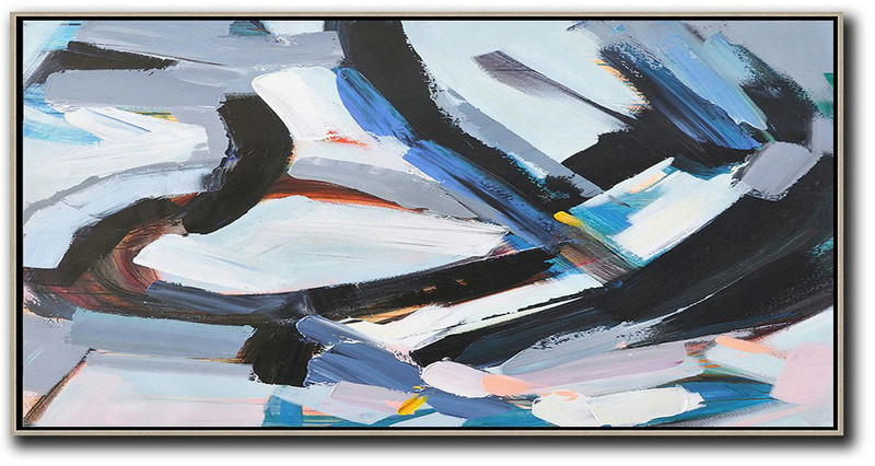 Abstract Painting Extra Large Canvas Art,Horizontal Palette Knife Contemporary Art Panoramic Canvas Painting,Hand Painted Original Art,White,Blue,Black,Grey.etc