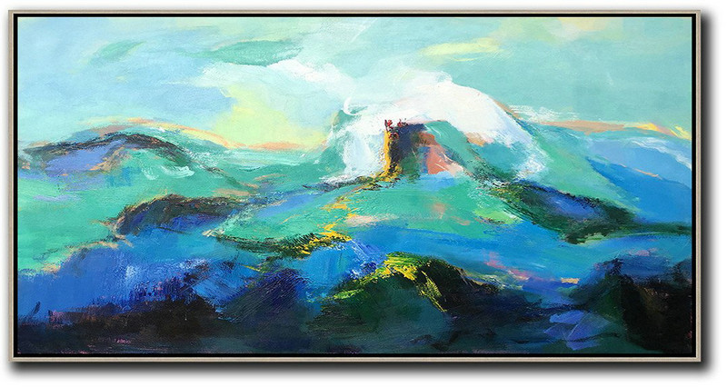Hand Painted Extra Large Abstract Painting,Horizontal Palette Knife Abstract Landscape Art Panoramic Canvas Painting,Living Room Wall Art,Blue,Green,White,Black.etc