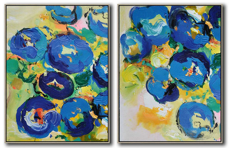 Extra Large Acrylic Painting On Canvas,Set Of 2 Abstract Flower Painting On Canvas,Acrylic Painting On Canvas,Yellow,Blue,Green.etc