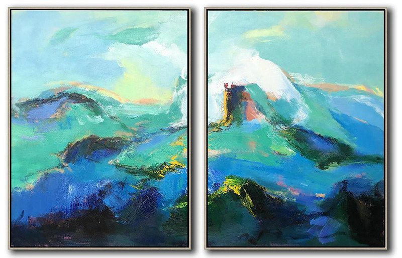 Extra Large Acrylic Painting On Canvas,Set Of 2 Abstract Landscape Painting On Canvas,Textured Painting Canvas Art,Green,Blue,Black.etc