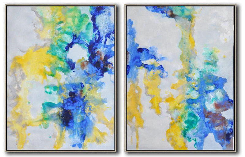Handmade Large Contemporary Art,Set Of 2 Abstract Oil Painting On Canvas,Large Canvas Wall Art For Sale,Grey,Yellow,Green,Blue.etc
