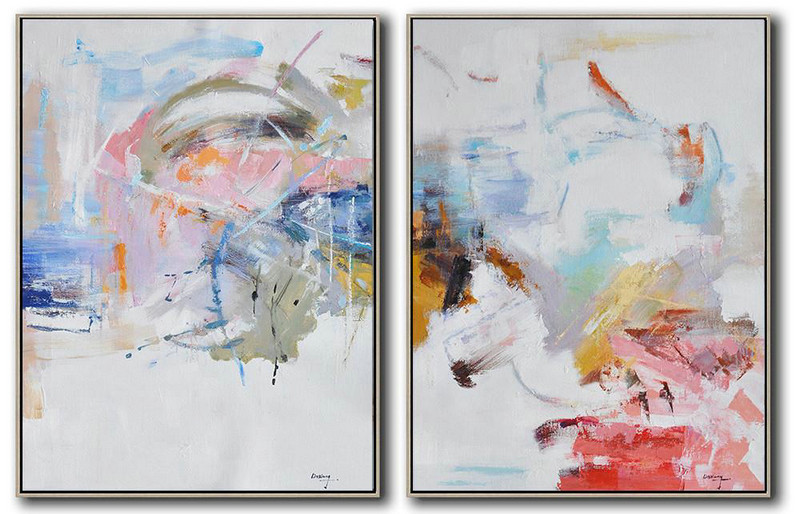 Extra Large Abstract Painting On Canvas,Set Of 2 Abstract Oil Painting On Canvas,Original Art Acrylic Painting,White,Pink,Blue,Gray.etc