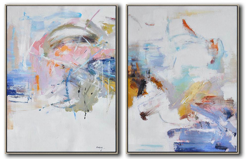 Extra Large Painting,Set Of 2 Abstract Oil Painting On Canvas,Modern Canvas Art,White,Grey,Yellow,Pink,Orange.etc
