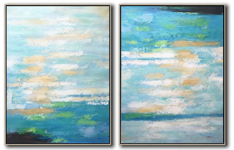 Abstract Painting Extra Large Canvas Art,Set Of 2 Abstract Painting On Canvas,Canvas Paintings For Sale,Blue,White,Yellow,Green.etc