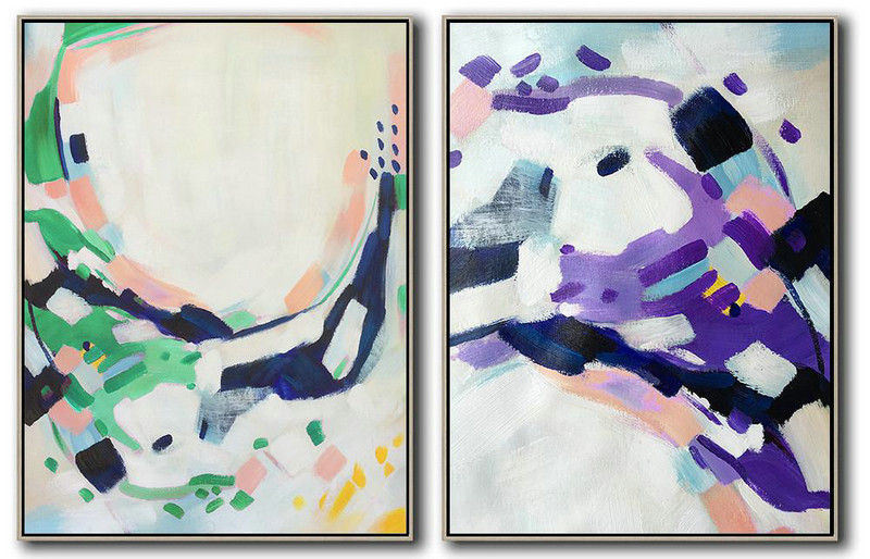 Hand Painted Extra Large Abstract Painting,Set Of 2 Abstract Painting On Canvas,Extra Large Artwork,White.Dark Blue,Green,Purple.etc