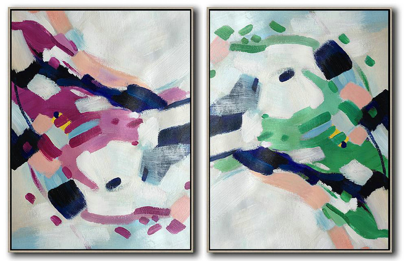 Handmade Large Contemporary Art,Set Of 2 Abstract Painting On Canvas,Modern Paintings,Grey,Purple,Green,Pink.Dark Blue.etc