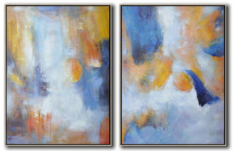 Extra Large Abstract Painting On Canvas,Set Of 2 Abstract Painting On Canvas,Extra Large Paintings,Yellow,Blue,White.etc