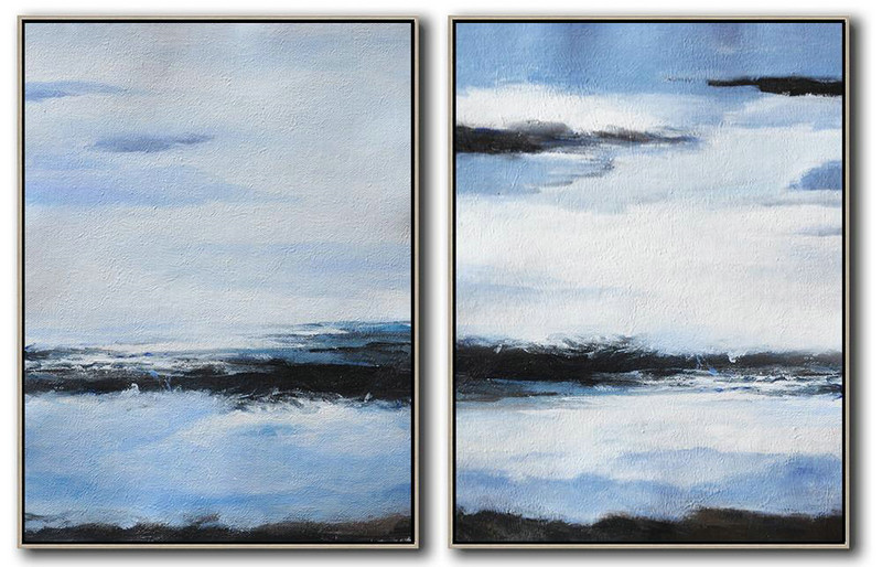 "Extra Large 72"" Acrylic Painting,Set Of 2 Abstract Painting On Canvas,Big Art Canvas,Blue,White,Black.etc"