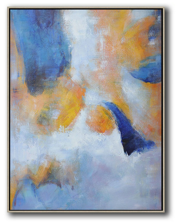Large Abstract Art,Hand Painted Vertical Abstract Art,Original Abstract Painting Canvas Art,Yellow,White,Blue.etc