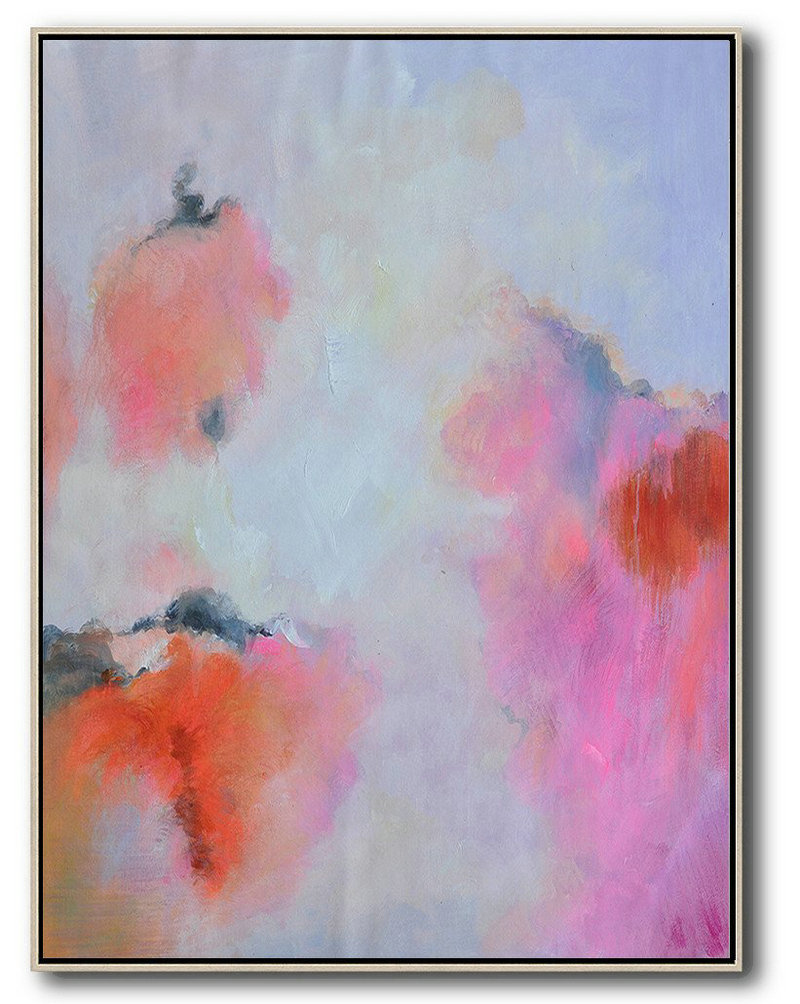 Large Abstract Painting,Hand Painted Vertical Square Abstract Art,Hand-Painted Canvas Art,Blue,Pink,Red.etc