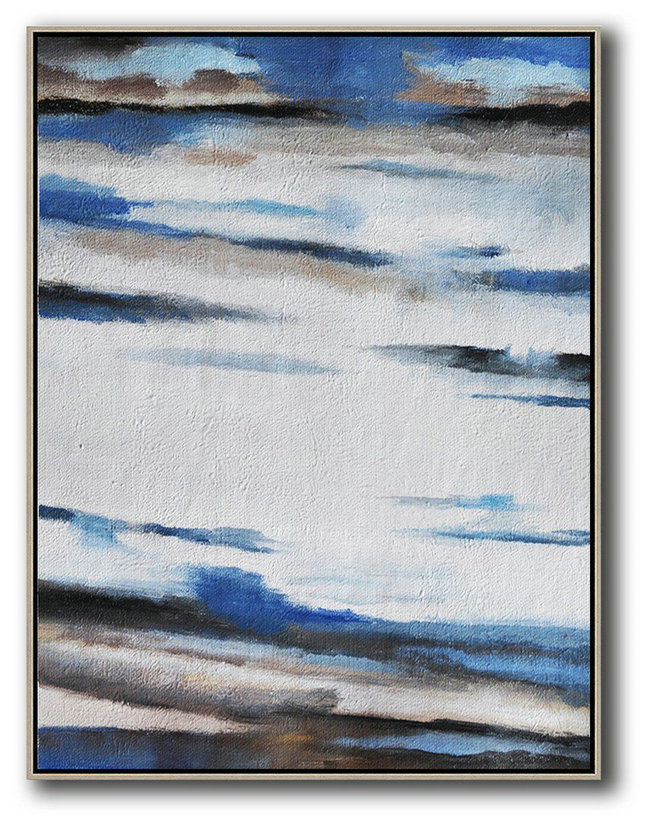 Extra Large Acrylic Painting On Canvas,Oversized Abstract Landscape Painting,Modern Art,Blue,White,Grey,Brown.etc