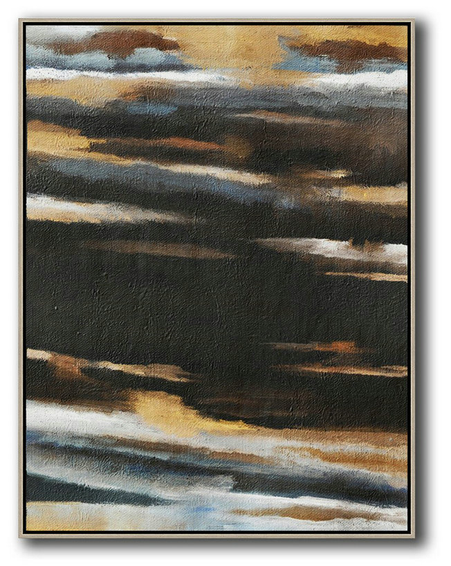 Original Abstract Painting Extra Large Canvas Art,Oversized Abstract Landscape Painting,Large Abstract Wall Art,Yellow,Grey,Black,White.etc