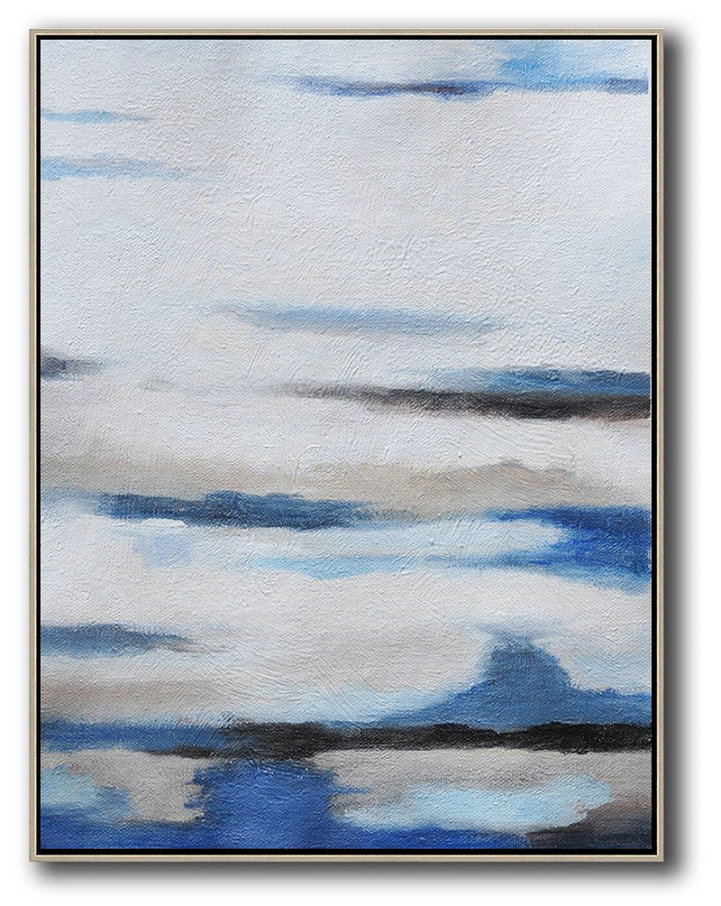 Handmade Extra Large Contemporary Painting,Oversized Abstract Landscape Painting,Contemporary Art Acrylic Painting,White,Blue,Grey.etc