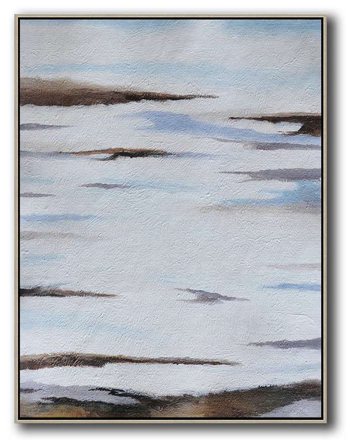 Oversized Canvas Art On Canvas,Oversized Abstract Landscape Painting,Large Abstract Wall Art,Blue,White,Brown,Grey.etc