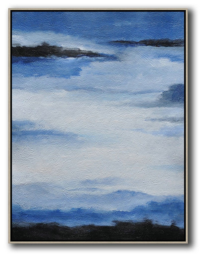 Large Abstract Painting,Oversized Abstract Landscape Painting,Modern Canvas Art,Blue,White,Black.etc