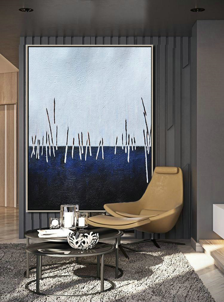 Extra Large Acrylic Painting On Canvas,Oversized Abstract Landscape Painting,Large Contemporary Painting,White,Dark Blue,Black.etc