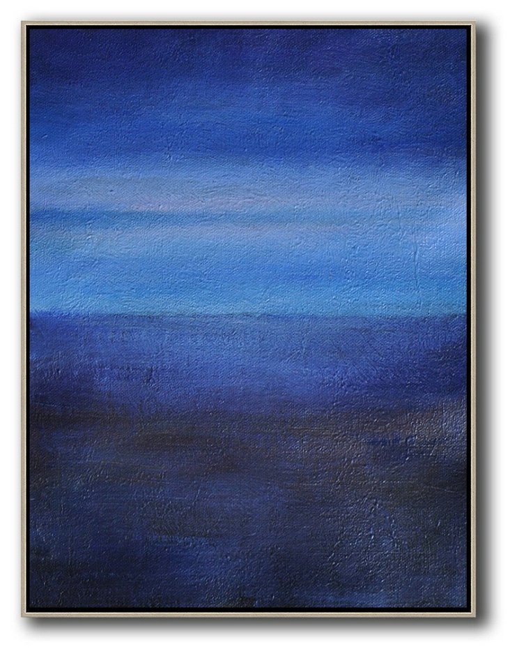 Original Extra Large Wall Art,Oversized Abstract Landscape Painting,Wall Art Painting,Dark Blue,Blue,White.etc