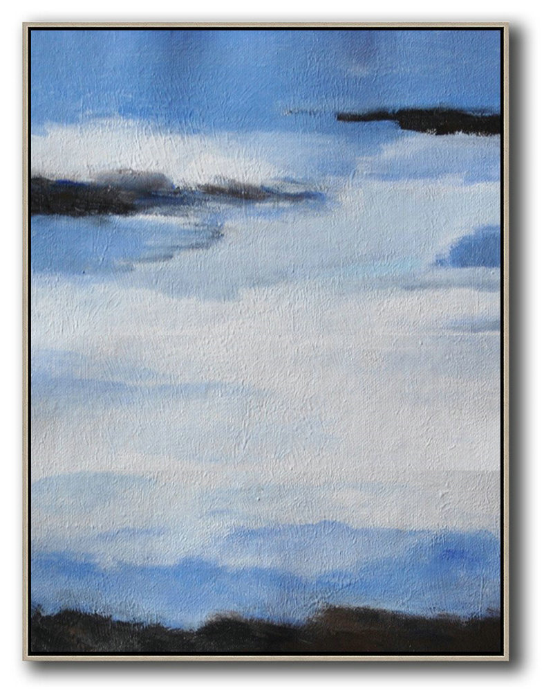 Original Artwork Extra Large Abstract Painting,Oversized Abstract Landscape Painting,Art Work,Blue,White,Black.etc