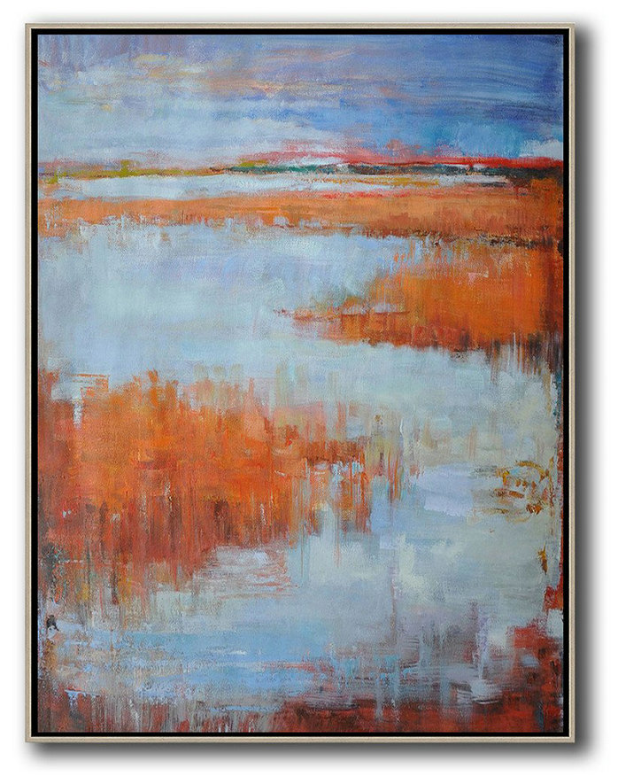 Handmade Painting Large Abstract Art,Oversized Abstract Landscape Painting,Pop Art Canvas,Blue,Orange,Grey.etc