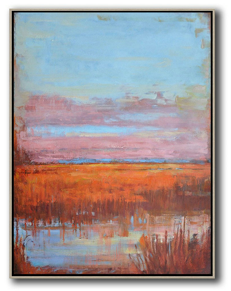 Large Modern Abstract Painting,Oversized Abstract Landscape Painting,Large Living Room Decor,Blue,Pink,Orange,Red.etc