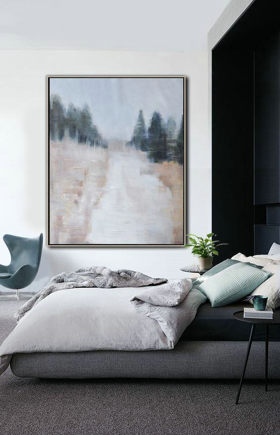 Original Painting Hand Made Large Abstract Art,Oversized Abstract Landscape Painting,Canvas Wall Art Home Decor,Grey,White,Dark Green,Nude.etc