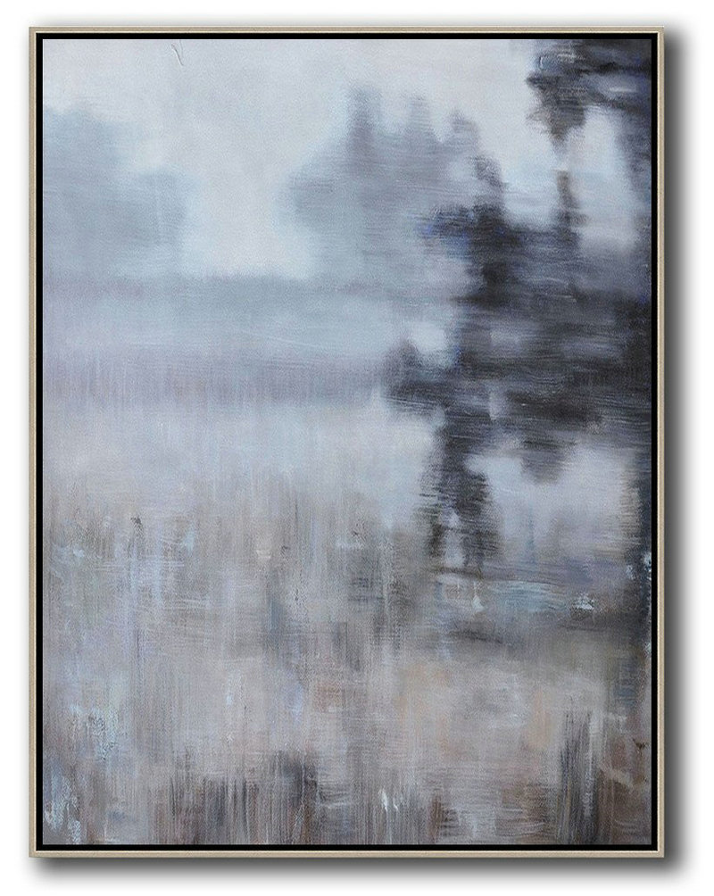 Large Abstract Painting On Canvas,Oversized Abstract Landscape Painting,Big Painting,Brown,Grey,Black.etc