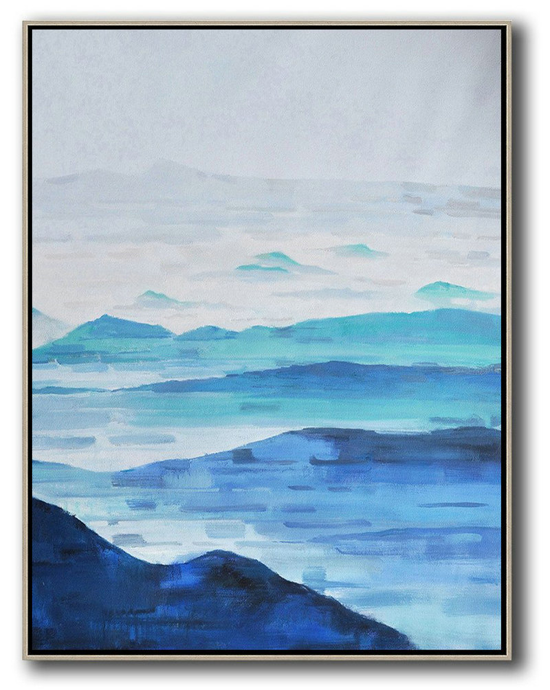Extra Large Painting,Oversized Abstract Landscape Painting,Hand Paint Large Clean Modern Art,Grey,White,Dark Blue,Blue.etc