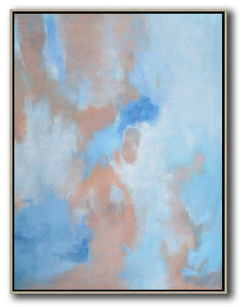 Hand Painted Extra Large Abstract Painting,Oversized Abstract Landscape Painting,Hand-Painted Contemporary Art,Pink,Blue,White.etc