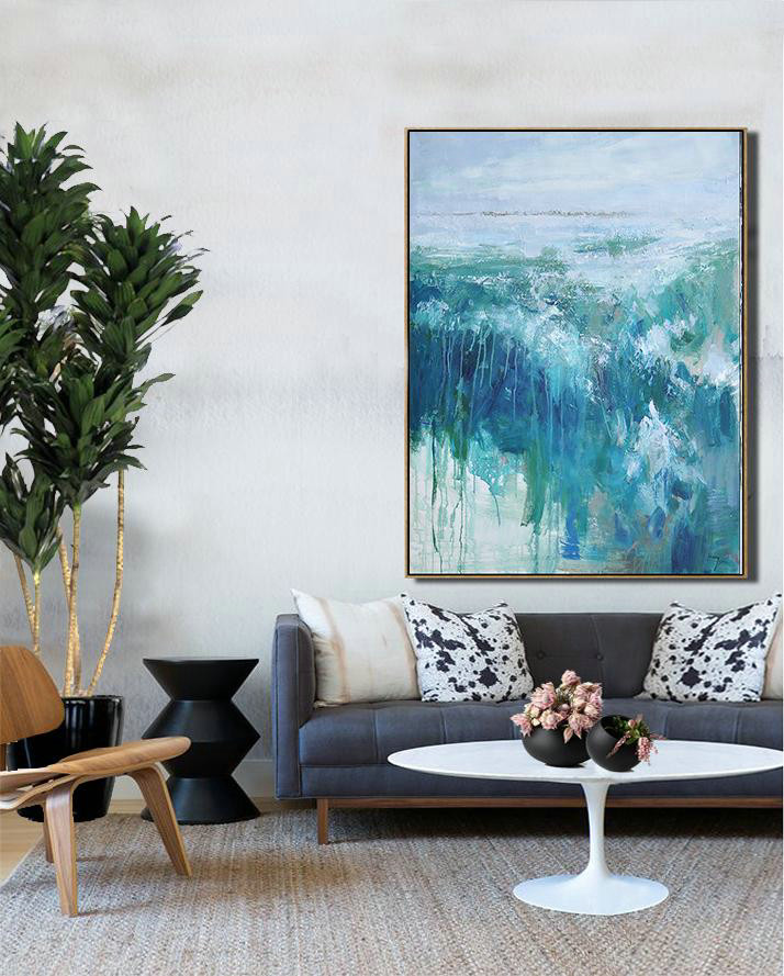 Abstract Painting Extra Large Canvas Art,Oversized Abstract Landscape Painting,Modern Art Abstract Painting,Grey,Dark Blue,White,Green.etc