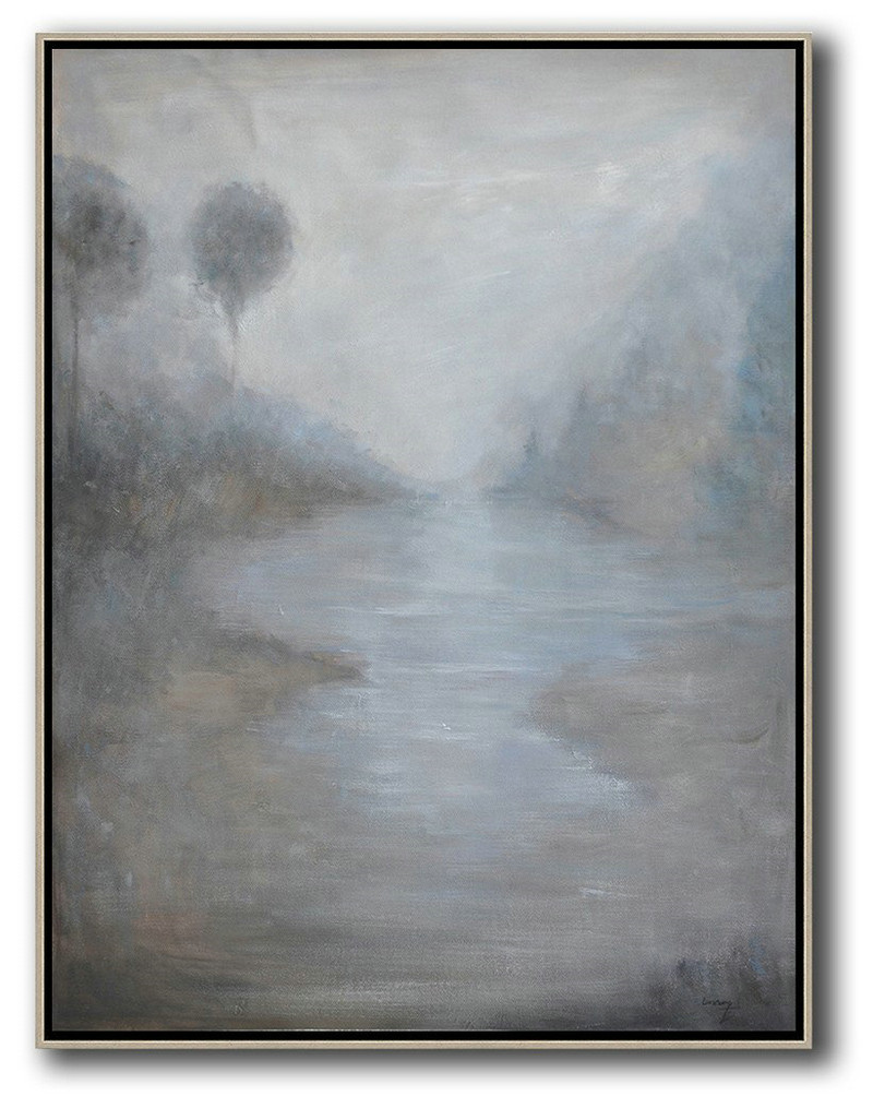 Extra Large Textured Painting On Canvas,Oversized Abstract Landscape Painting,Living Room Wall Art,Grey,White,Blue.etc