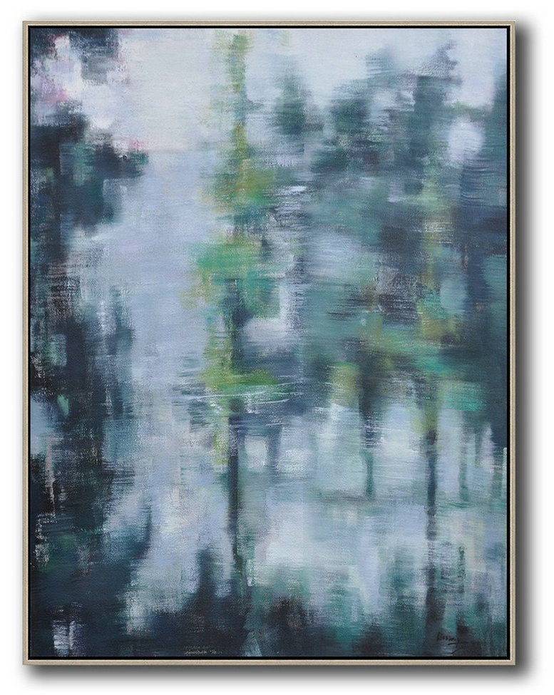 Extra Large Abstract Painting On Canvas,Oversized Abstract Landscape Painting,Hand Paint Abstract Painting,Grey,Light Green,Black.etc