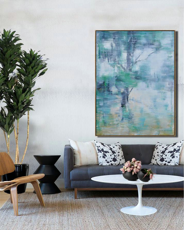 "Extra Large 72"" Acrylic Painting,Oversized Abstract Landscape Painting,Large Contemporary Art Canvas Painting,Grey,Yellow,Light Green.etc"