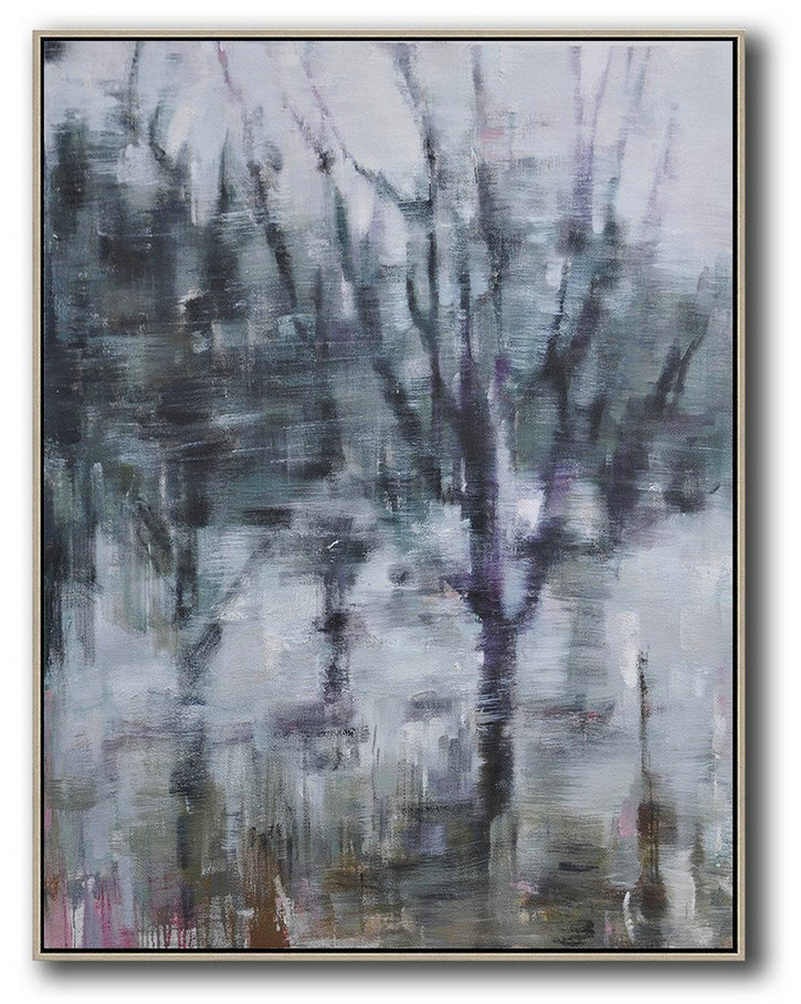 Hand Made Abstract Art,Oversized Abstract Landscape Painting,Original Art Acrylic Painting,Dark Green,White,Purple.etc