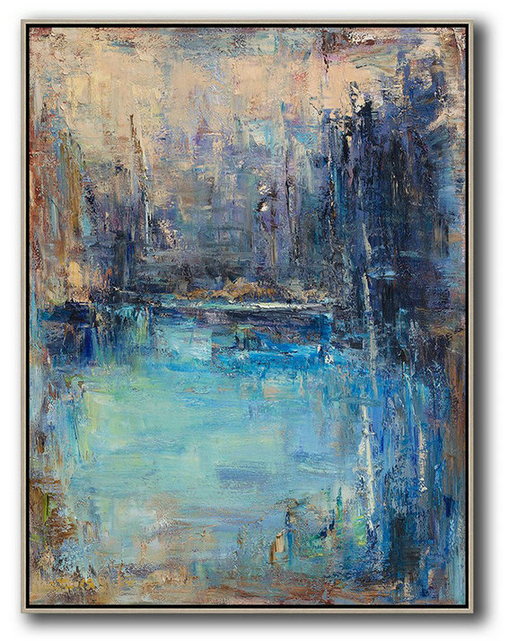 Handmade Large Contemporary Art,Oversized Abstract Landscape Painting,Large Canvas Art,Maize-Yellow,Blue,Dark Blue.etc