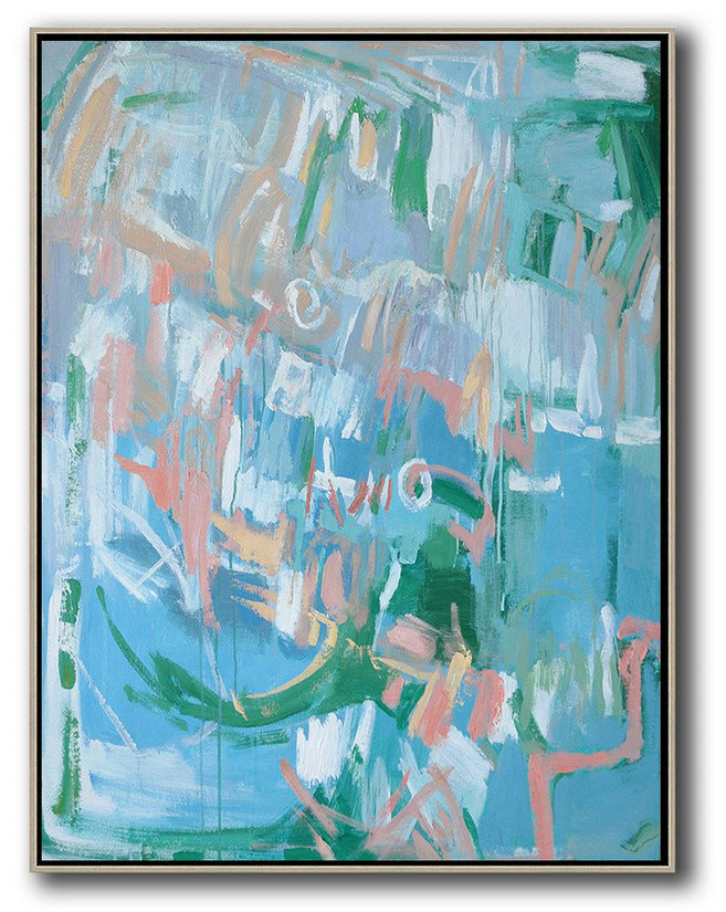Large Abstract Painting On Canvas,Oversized Abstract Landscape Painting,Acrylic Painting Large Wall Art,Blue,Pink,Green.etc