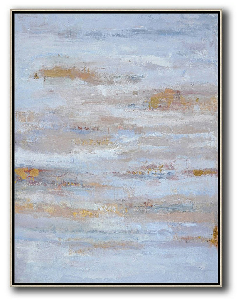 Extra Large Painting,Oversized Abstract Landscape Painting,Big Canvas Painting,Blue,Grey,Gold.etc